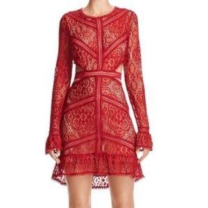 For Love & Lemons Red Emerie Cutout Dress Medium